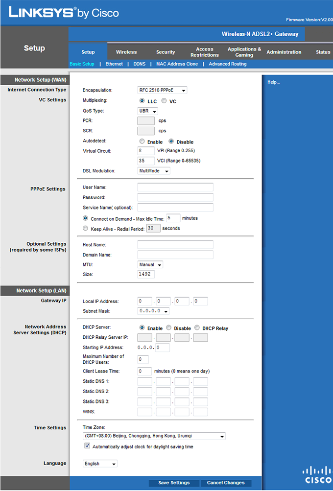 configuration ADSL NordNet Linksys X3000